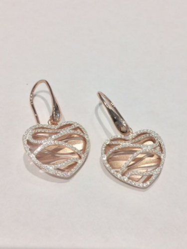 Rose Gold Plated Sterling Silver Heart Earrings SB2